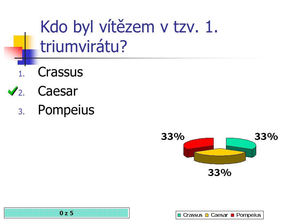 Kdo byl vítězem v tzv. 1. triumvirátu? 0 z 5 1. Crassus 2. Caesar 3. Pompeius