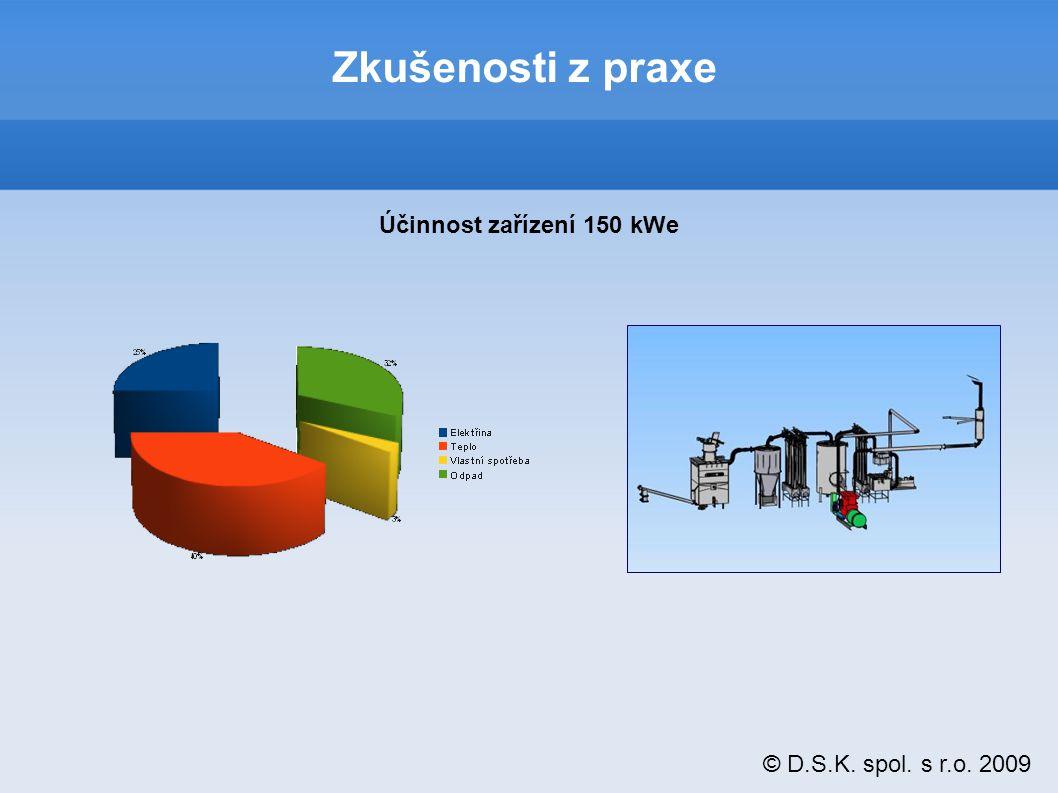 © D.S.K. spol. s r.o. 2009 Zkušenosti z praxe Účinnost zařízení 150 kWe