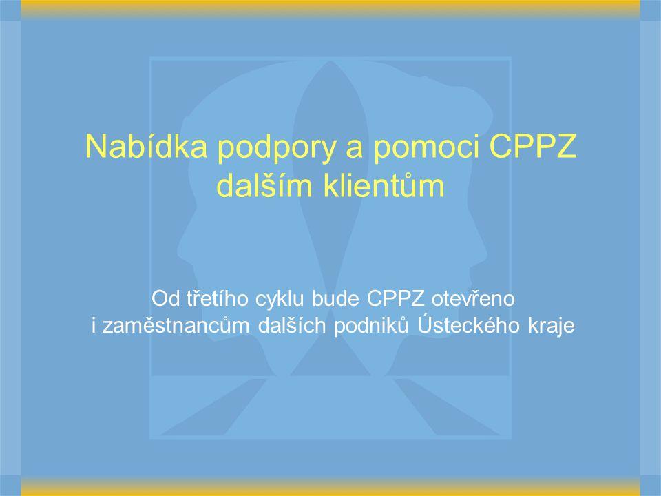 Nabídka podpory a pomoci CPPZ dalším klientům Od třetího cyklu bude CPPZ otevřeno i zaměstnancům dalších podniků Ústeckého kraje