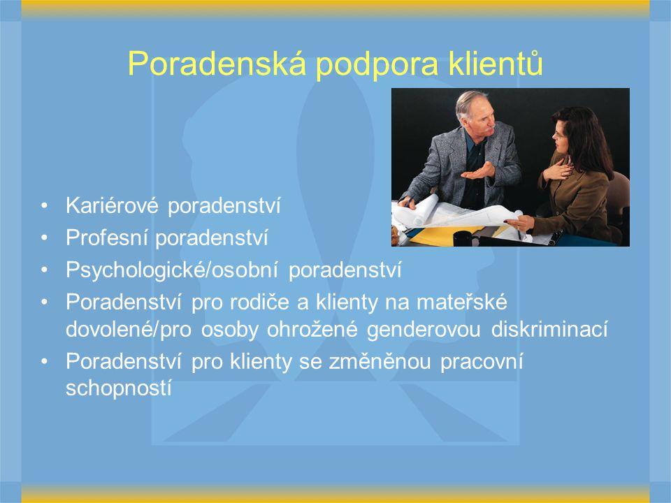 Poradenská podpora klientů Kariérové poradenství Profesní poradenství Psychologické/osobní poradenství Poradenství pro rodiče a klienty na mateřské dovolené/pro osoby ohrožené genderovou diskriminací Poradenství pro klienty se změněnou pracovní schopností