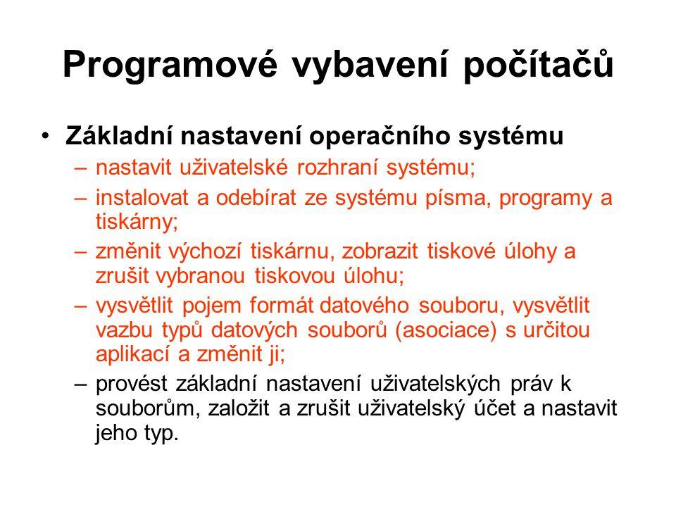Programové vybavení počítačů Základní nastavení operačního systému –nastavit uživatelské rozhraní systému; –instalovat a odebírat ze systému písma, pr