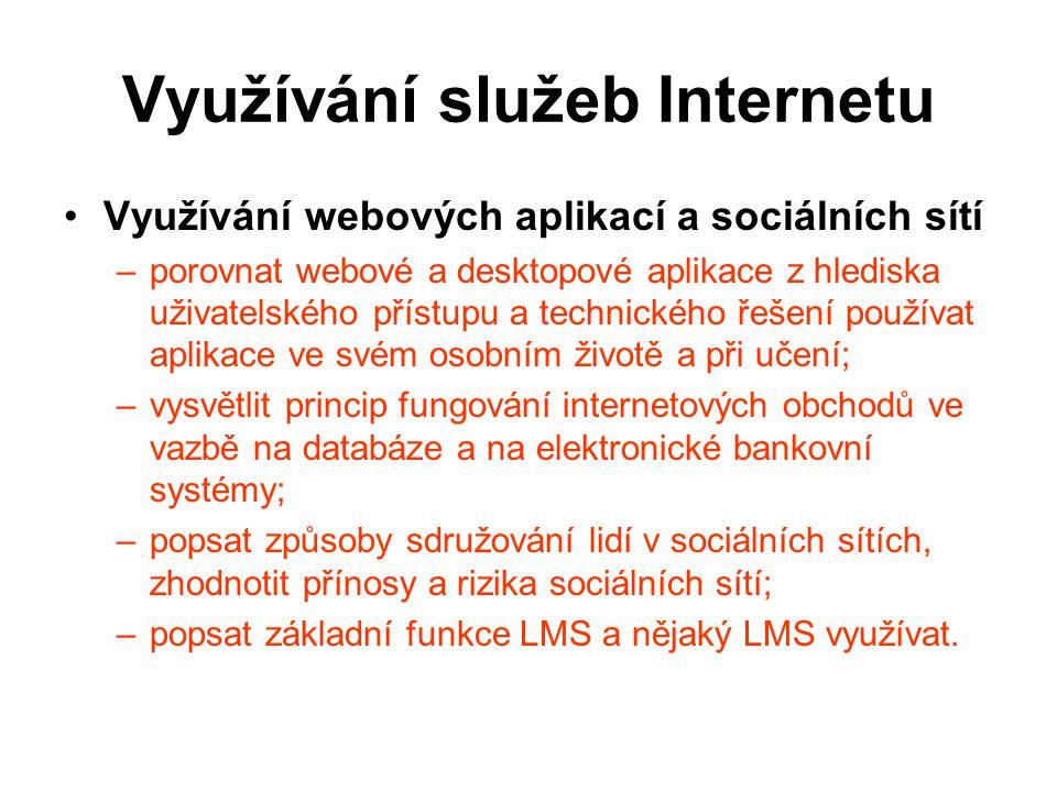 Využívání služeb Internetu Využívání webových aplikací a sociálních sítí –p–porovnat webové a desktopové aplikace z hlediska uživatelského přístupu a