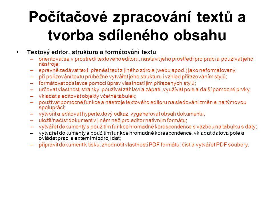 Počítačové zpracování textů a tvorba sdíleného obsahu Textový editor, struktura a formátování textu –orientovat se v prostředí textového editoru, nast