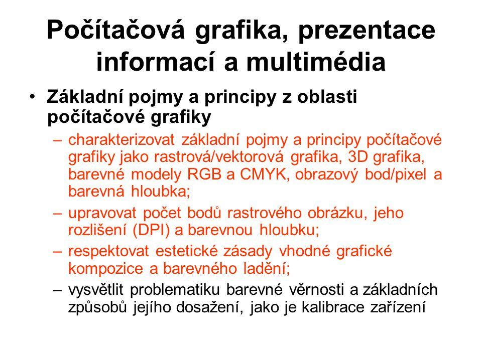 Počítačová grafika, prezentace informací a multimédia Základní pojmy a principy z oblasti počítačové grafiky –charakterizovat základní pojmy a princip