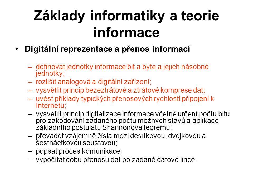 Základy informatiky a teorie informace Informační zdroje a jejich kvalita –charakterizovat informační zdroje a posuzovat vhodnost jejich použití pro daný účel; –popsat a využívat služby poskytované knihovnami; –vyhledat informace pomocí katalogu a pomocí fulltextového vyhledávače, rozlišovat mezi různými způsoby hledání informací; –vysvětlit způsob fungování vyhledávače a orientovat se ve webovém vyhledávači, využívat rozšířené vyhledávání, formulovat zadání dotazu pro získání relevantních výsledků a orientovat se ve výstupu vyhledávání; –kriticky přistupovat k informacím a ověřovat informace z různých zdrojů, posoudit relevanci a kvalitu informačního zdroje; –využívat a vytvářet metadata (metainformace); –používat myšlenkové mapy pro organizaci pojmů a vztahů mezi nimi; –vysvětlit princip a přínosy digitalizace reálných objektů, virtualizaci reálných objektů a míst.