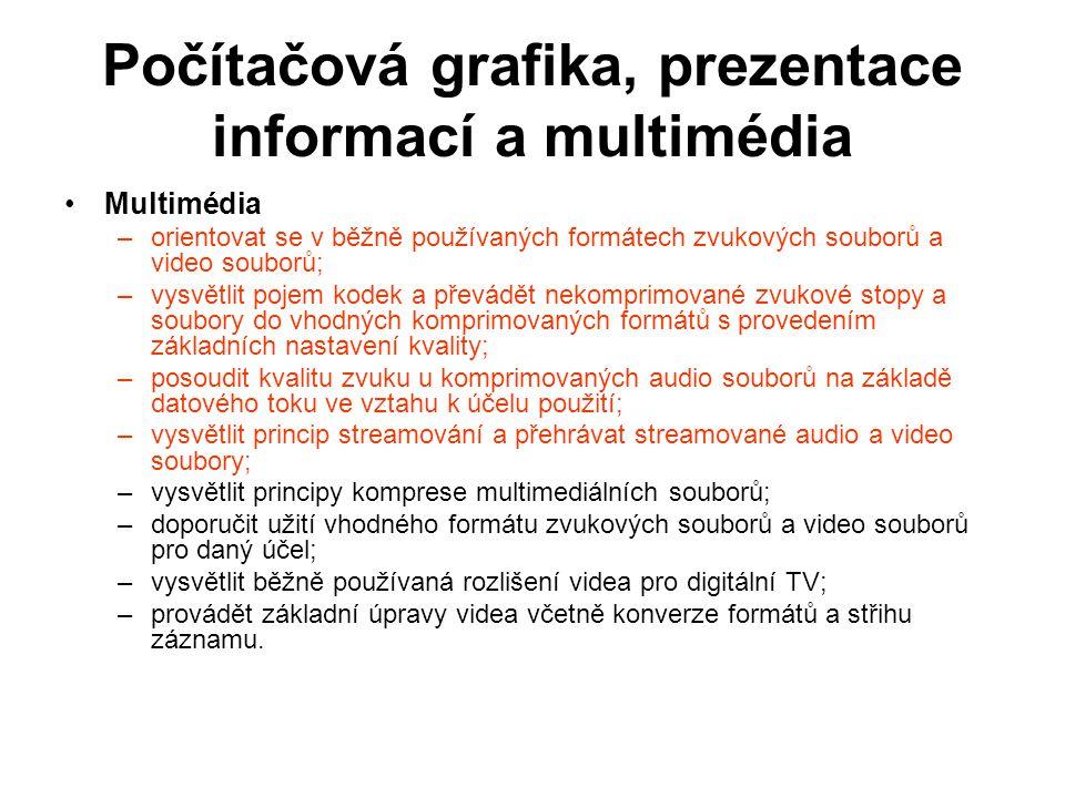 Počítačová grafika, prezentace informací a multimédia Multimédia –orientovat se v běžně používaných formátech zvukových souborů a video souborů; –vysv