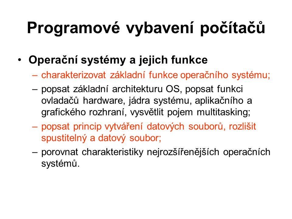 Programové vybavení počítačů Ovládání operačního systému a správa souborů –využívat rozhraní a nástroje OS k efektivní organizaci své práce a svých dat; –prozkoumávat složky, zobrazovat a řadit různými způsoby objekty a zjišťovat jejich vlastnosti, pracovat s jednotlivými objekty, hledat objekty; –používat schránku operačního systému; –komprimovat a dekomprimovat soubory a složky.
