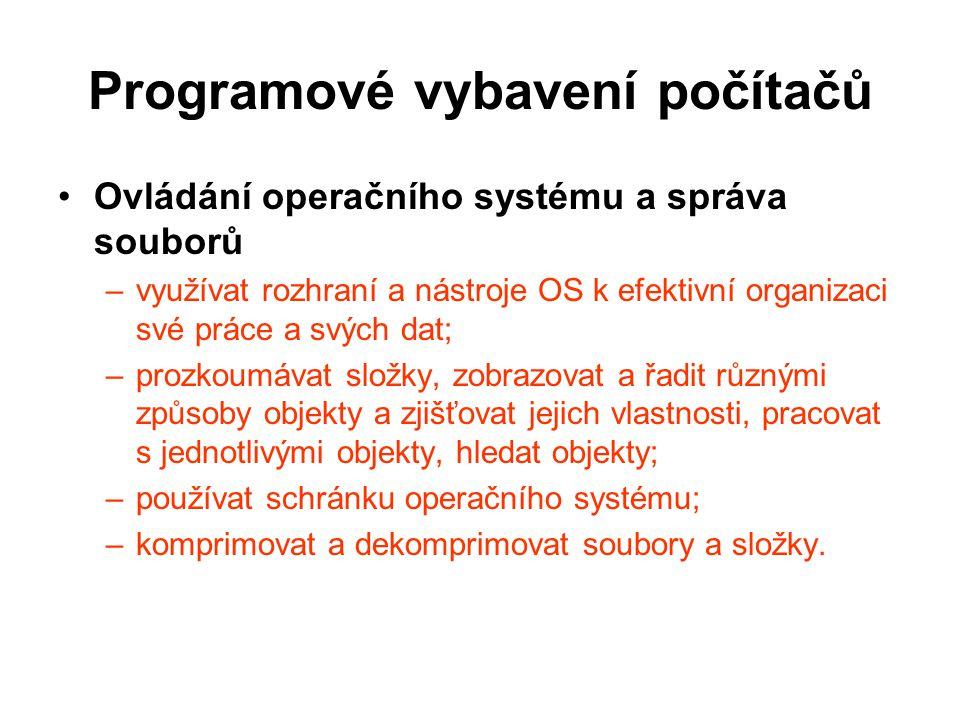 Programové vybavení počítačů Základní nastavení operačního systému –nastavit uživatelské rozhraní systému; –instalovat a odebírat ze systému písma, programy a tiskárny; –změnit výchozí tiskárnu, zobrazit tiskové úlohy a zrušit vybranou tiskovou úlohu; –vysvětlit pojem formát datového souboru, vysvětlit vazbu typů datových souborů (asociace) s určitou aplikací a změnit ji; –provést základní nastavení uživatelských práv k souborům, založit a zrušit uživatelský účet a nastavit jeho typ.