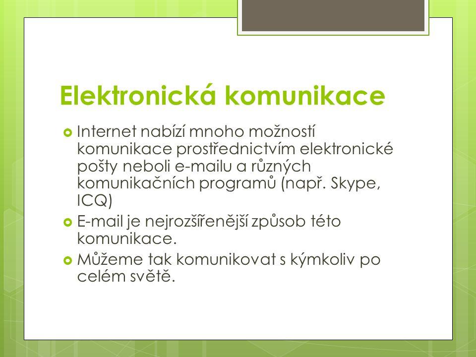 Elektronická komunikace  Internet nabízí mnoho možností komunikace prostřednictvím elektronické pošty neboli e-mailu a různých komunikačních programů