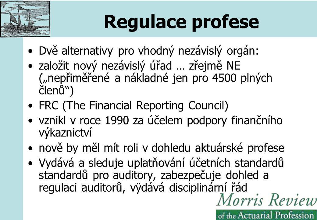 """Regulace profese Dvě alternativy pro vhodný nezávislý orgán: založit nový nezávislý úřad … zřejmě NE (""""nepřiměřené a nákladné jen pro 4500 plných členů ) FRC (The Financial Reporting Council) vznikl v roce 1990 za účelem podpory finančního výkaznictví nově by měl mít roli v dohledu aktuárské profese Vydává a sleduje uplatňování účetních standardů standardů pro auditory, zabezpečuje dohled a regulaci auditorů, vÿdává disciplinární řád"""
