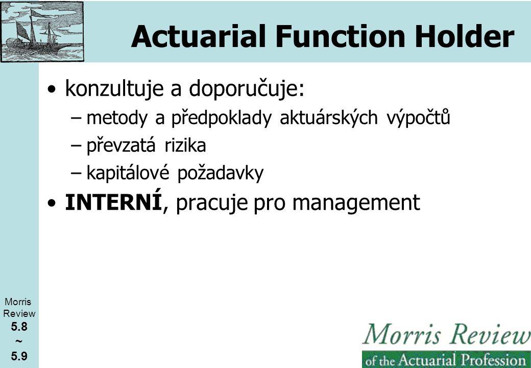 Actuarial Function Holder konzultuje a doporučuje: –metody a předpoklady aktuárských výpočtů –převzatá rizika –kapitálové požadavky INTERNÍ, pracuje pro management Morris Review 5.8 ~ 5.9