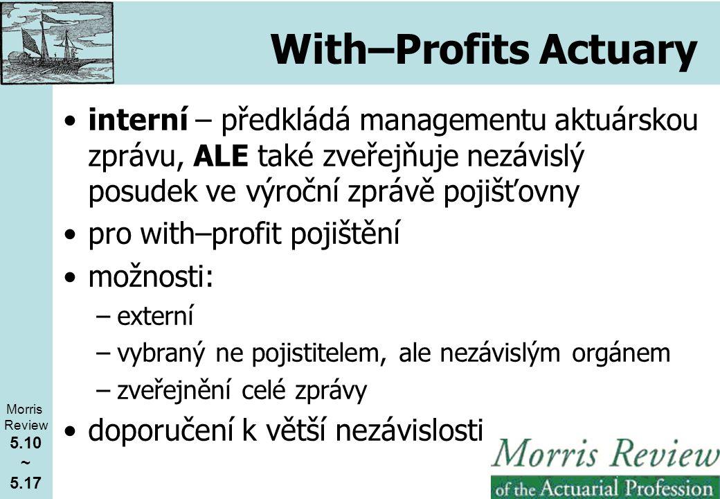 With–Profits Actuary interní – předkládá managementu aktuárskou zprávu, ALE také zveřejňuje nezávislý posudek ve výroční zprávě pojišťovny pro with–profit pojištění možnosti: –externí –vybraný ne pojistitelem, ale nezávislým orgánem –zveřejnění celé zprávy doporučení k větší nezávislosti Morris Review 5.10 ~ 5.17