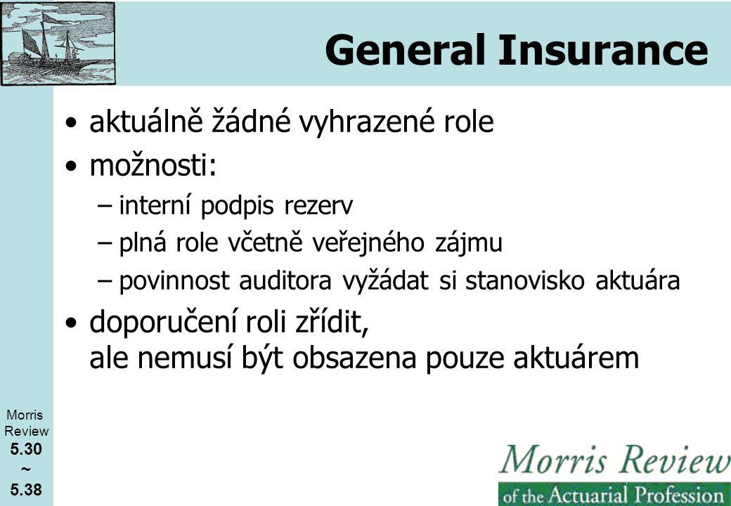 General Insurance aktuálně žádné vyhrazené role možnosti: –interní podpis rezerv –plná role včetně veřejného zájmu –povinnost auditora vyžádat si stanovisko aktuára doporučení roli zřídit, ale nemusí být obsazena pouze aktuárem Morris Review 5.30 ~ 5.38
