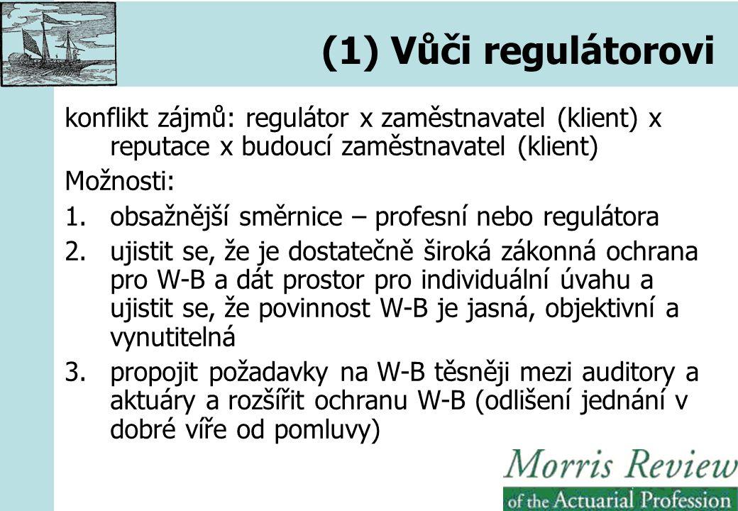 (1) Vůči regulátorovi konflikt zájmů: regulátor x zaměstnavatel (klient) x reputace x budoucí zaměstnavatel (klient) Možnosti: 1.obsažnější směrnice – profesní nebo regulátora 2.ujistit se, že je dostatečně široká zákonná ochrana pro W-B a dát prostor pro individuální úvahu a ujistit se, že povinnost W-B je jasná, objektivní a vynutitelná 3.propojit požadavky na W-B těsněji mezi auditory a aktuáry a rozšířit ochranu W-B (odlišení jednání v dobré víře od pomluvy)