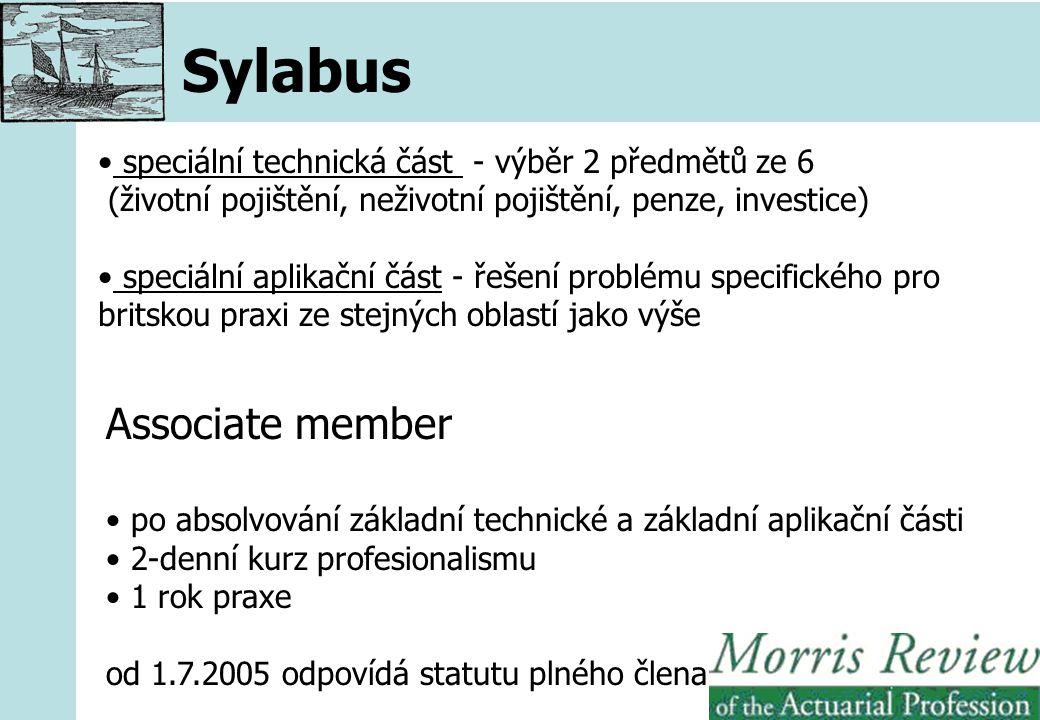 Sylabus speciální technická část - výběr 2 předmětů ze 6 (životní pojištění, neživotní pojištění, penze, investice) speciální aplikační část - řešení problému specifického pro britskou praxi ze stejných oblastí jako výše Associate member po absolvování základní technické a základní aplikační části 2-denní kurz profesionalismu 1 rok praxe od 1.7.2005 odpovídá statutu plného člena