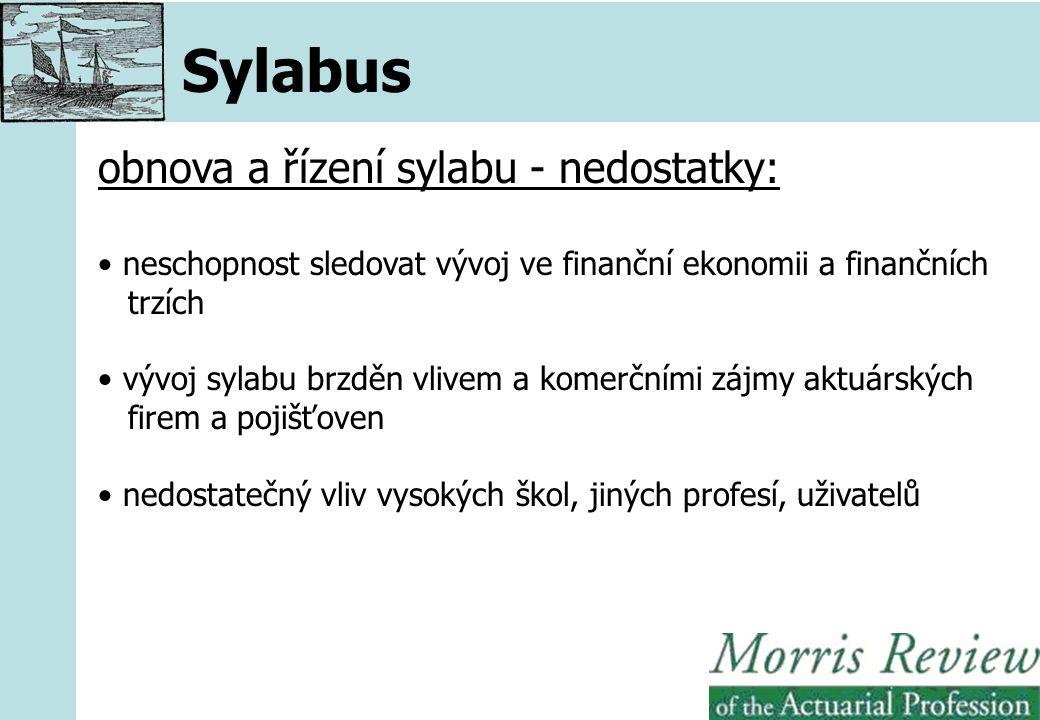 Sylabus obnova a řízení sylabu - nedostatky: neschopnost sledovat vývoj ve finanční ekonomii a finančních trzích vývoj sylabu brzděn vlivem a komerčními zájmy aktuárských firem a pojišťoven nedostatečný vliv vysokých škol, jiných profesí, uživatelů