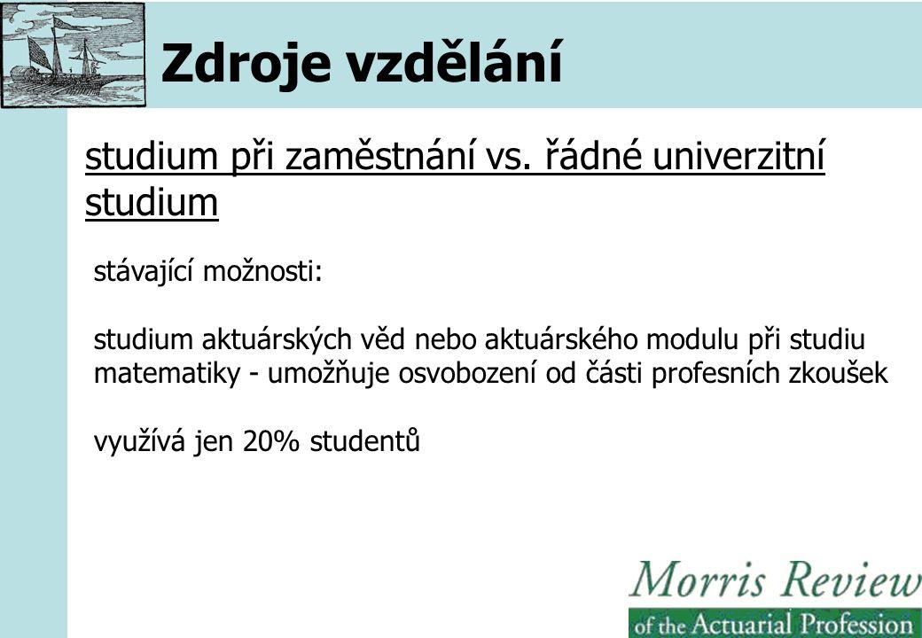 Zdroje vzdělání studium při zaměstnání vs.
