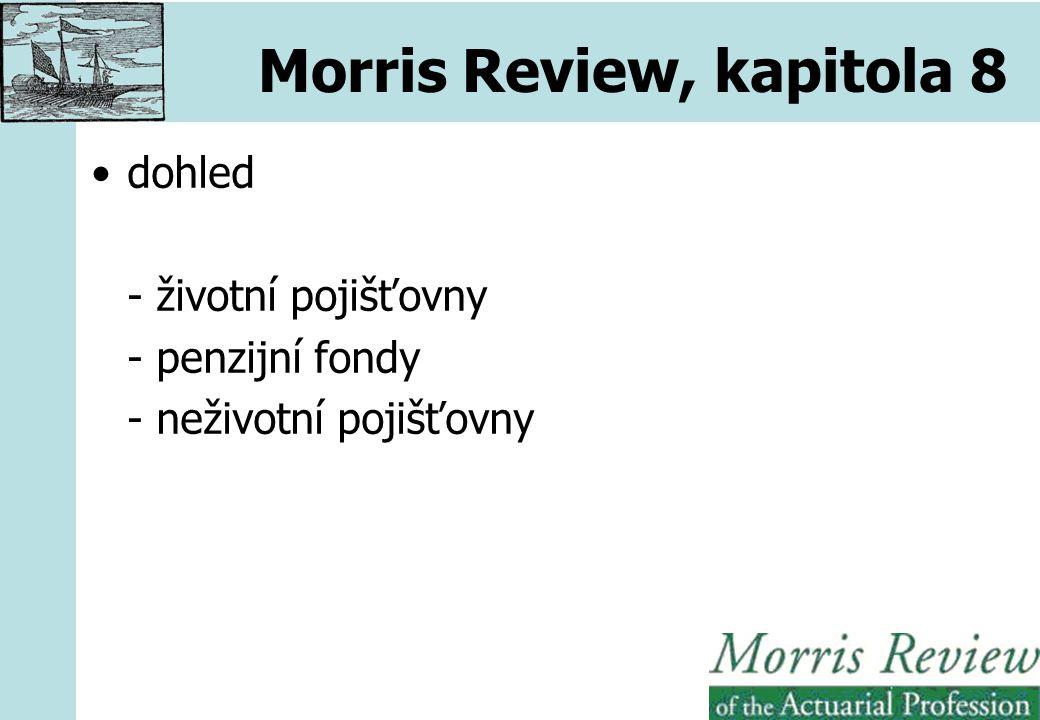 Morris Review, kapitola 8 dohled - životní pojišťovny - penzijní fondy - neživotní pojišťovny