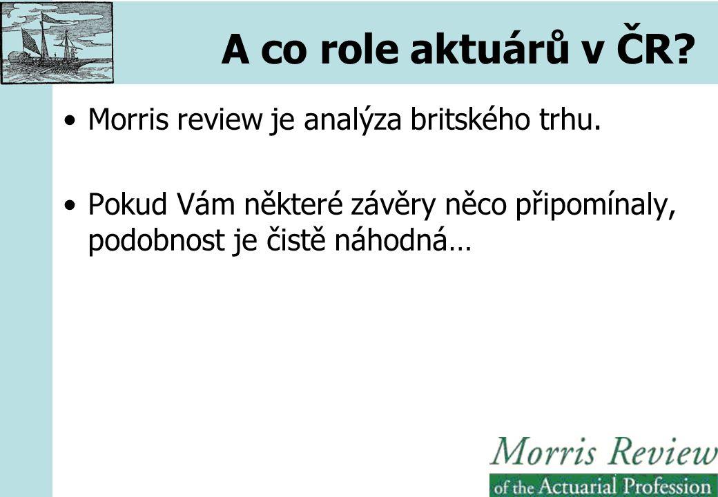 A co role aktuárů v ČR. Morris review je analýza britského trhu.