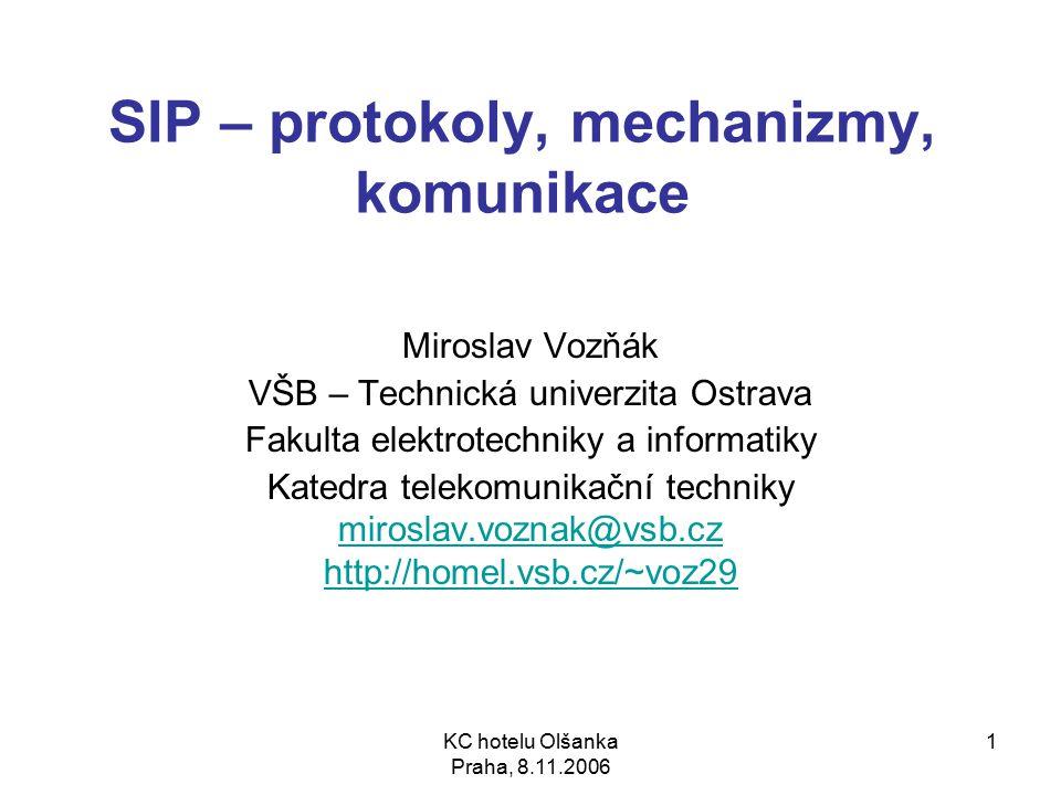 22 Dialog (Call-leg) INVITE sip:bob@biloxi.com SIP/2.0 Via: SIP/2.0/UDP pc33.atlanta.com:5060;branch=z9hG4bK776asdhds To: Bob From: Alice ;tag=1928301774 Call-ID: a84b4c76e66710 CSeq: 314159 INVITE Contact: Content-Type: application/sdp Content-Length: 142 (SDP část) Dialog – stejné informace během spojení v položkách: To, From a Call-ID To a From – specifikuje logickou adresu příjemce a odesílatele Call-ID – jedinečný identifikátor během jednoho spojení