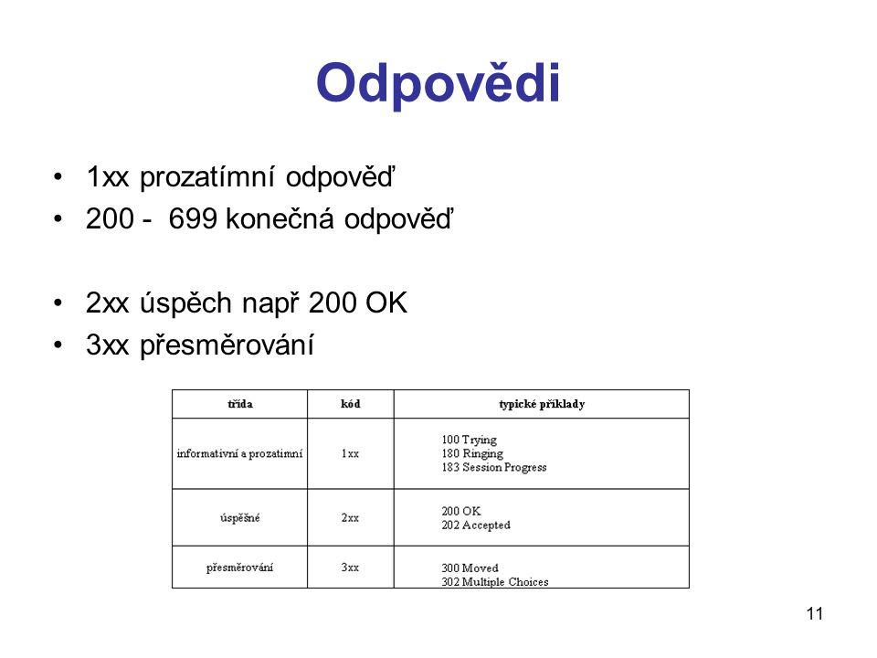 11 Odpovědi 1xx prozatímní odpověď 200 - 699 konečná odpověď 2xx úspěch např 200 OK 3xx přesměrování
