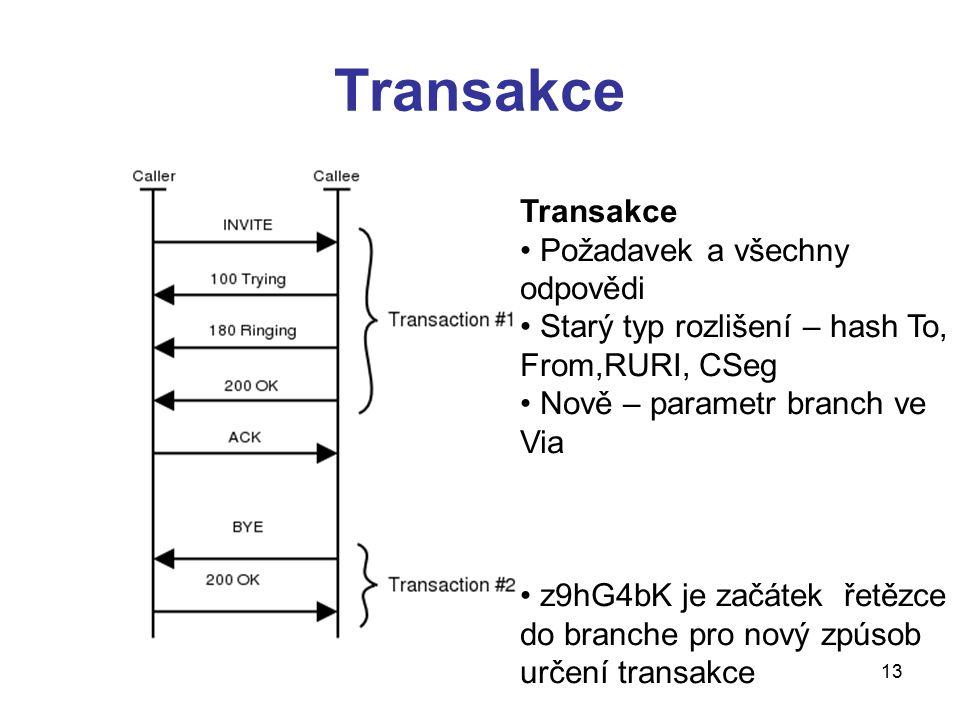 13 Transakce Požadavek a všechny odpovědi Starý typ rozlišení – hash To, From,RURI, CSeg Nově – parametr branch ve Via z9hG4bK je začátek řetězce do b