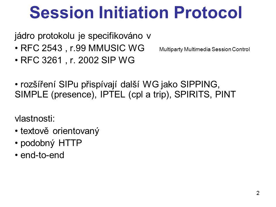 3 Session Initiation Protocol vlastnosti: signalizační protokol pro vytvoření, modifikaci a ukončení relace popis médií se řeší obvykle se spojením s SDP přenos hlasu a videa přes RTP cílové aplikace jsou hlas, video, instant messaging, presence, hry...