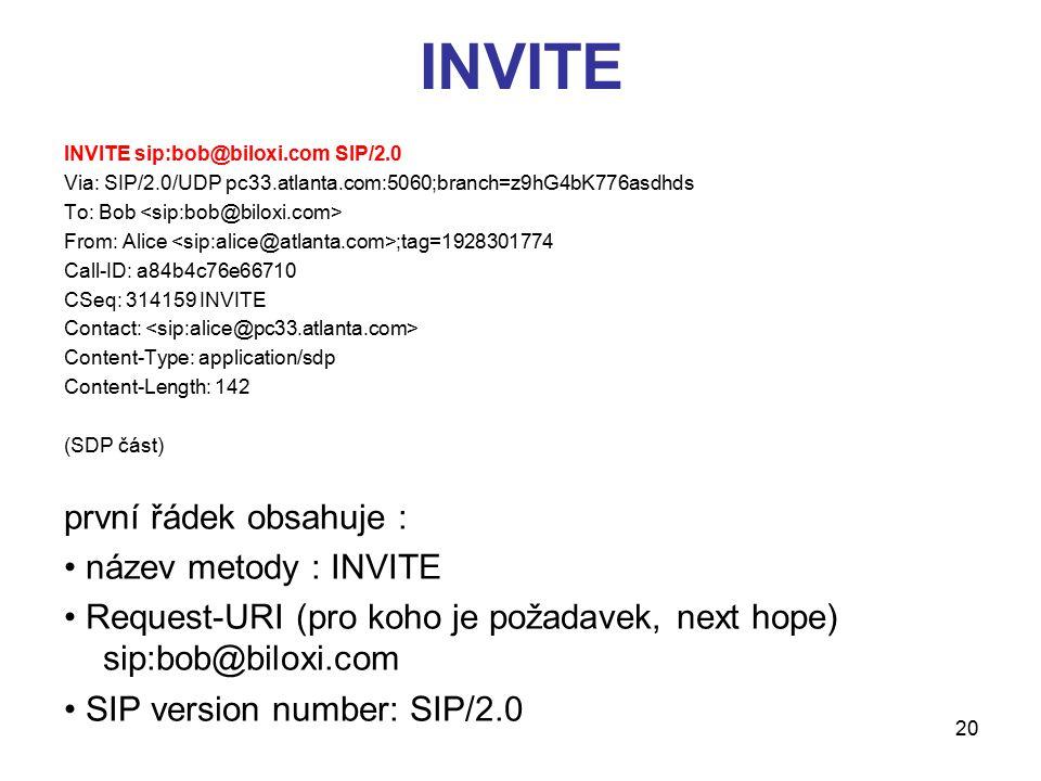 20 INVITE INVITE sip:bob@biloxi.com SIP/2.0 Via: SIP/2.0/UDP pc33.atlanta.com:5060;branch=z9hG4bK776asdhds To: Bob From: Alice ;tag=1928301774 Call-ID