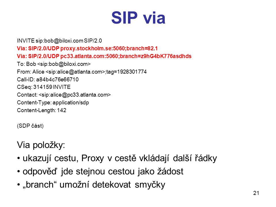 21 SIP via INVITE sip:bob@biloxi.com SIP/2.0 Via: SIP/2.0/UDP proxy.stockholm.se:5060;branch=82.1 Via: SIP/2.0/UDP pc33.atlanta.com:5060;branch=z9hG4b