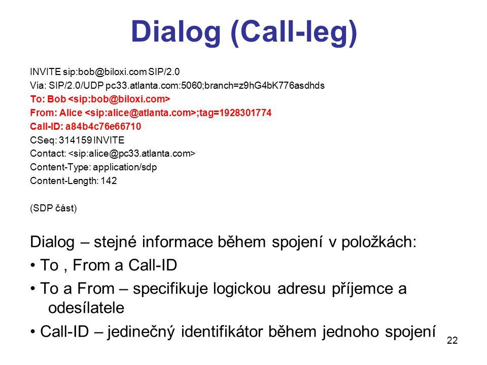 22 Dialog (Call-leg) INVITE sip:bob@biloxi.com SIP/2.0 Via: SIP/2.0/UDP pc33.atlanta.com:5060;branch=z9hG4bK776asdhds To: Bob From: Alice ;tag=1928301