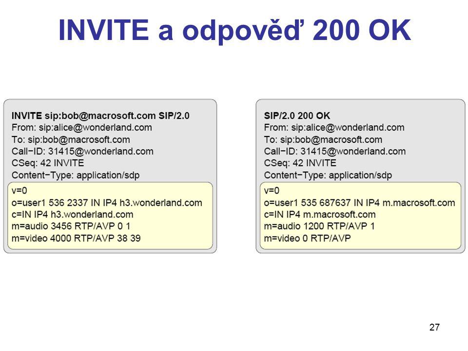 27 INVITE a odpověď 200 OK