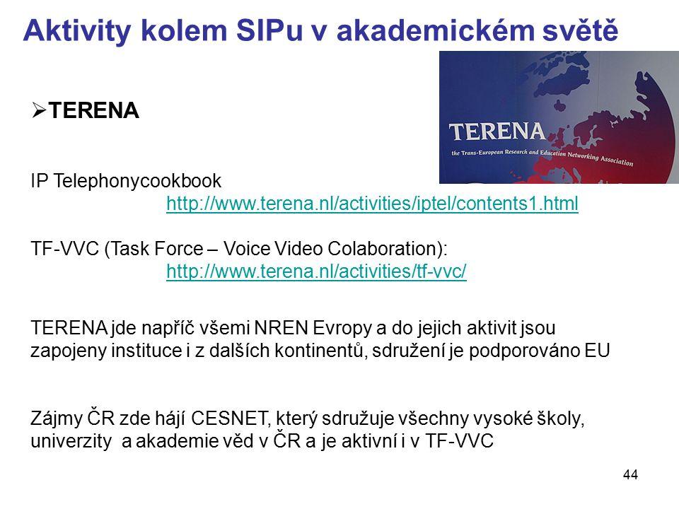 44 Aktivity kolem SIPu v akademickém světě  TERENA IP Telephonycookbook http://www.terena.nl/activities/iptel/contents1.html TF-VVC (Task Force – Voi