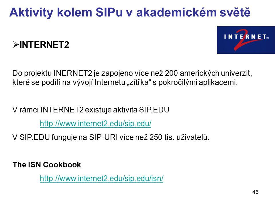 45 Aktivity kolem SIPu v akademickém světě  INTERNET2 Do projektu INERNET2 je zapojeno více než 200 amerických univerzit, které se podílí na vývojí I