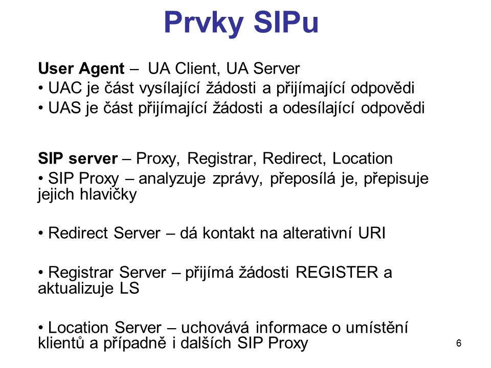 6 Prvky SIPu User Agent – UA Client, UA Server UAC je část vysílající žádosti a přijímající odpovědi UAS je část přijímající žádosti a odesílající odp