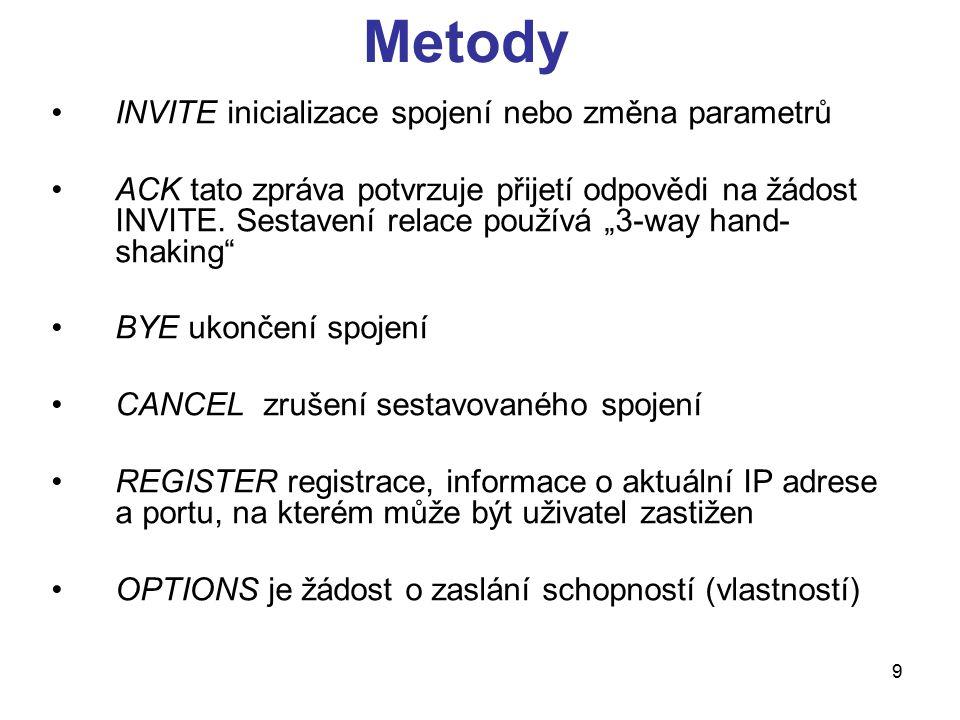 20 INVITE INVITE sip:bob@biloxi.com SIP/2.0 Via: SIP/2.0/UDP pc33.atlanta.com:5060;branch=z9hG4bK776asdhds To: Bob From: Alice ;tag=1928301774 Call-ID: a84b4c76e66710 CSeq: 314159 INVITE Contact: Content-Type: application/sdp Content-Length: 142 (SDP část) první řádek obsahuje : název metody : INVITE Request-URI (pro koho je požadavek, next hope) sip:bob@biloxi.com SIP version number: SIP/2.0