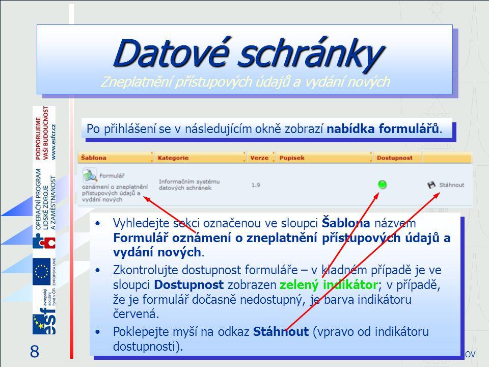 Po přihlášení se v následujícím okně zobrazí nabídka formulářů. Datové schránky Datové schránky Zneplatnění přístupových údajů a vydání nových 8 © eGO