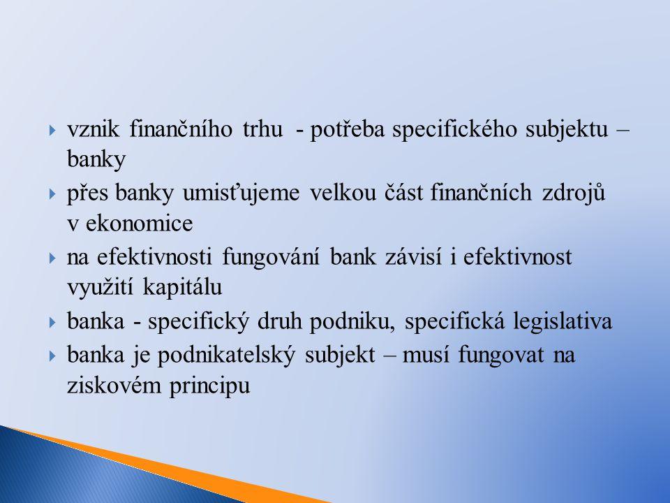  vznik finančního trhu - potřeba specifického subjektu – banky  přes banky umisťujeme velkou část finančních zdrojů v ekonomice  na efektivnosti fu