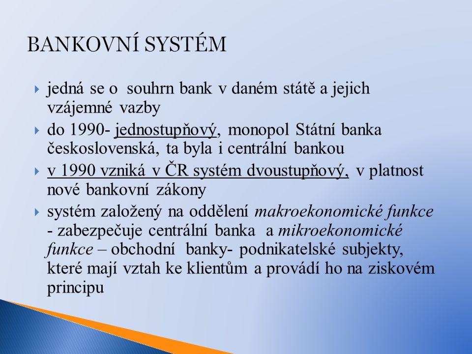 BANKOVNÍ SYSTÉM  jedná se o souhrn bank v daném státě a jejich vzájemné vazby  do 1990- jednostupňový, monopol Státní banka československá, ta byla i centrální bankou  v 1990 vzniká v ČR systém dvoustupňový, v platnost nové bankovní zákony  systém založený na oddělení makroekonomické funkce - zabezpečuje centrální banka a mikroekonomické funkce – obchodní banky- podnikatelské subjekty, které mají vztah ke klientům a provádí ho na ziskovém principu