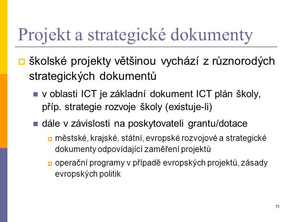 15 Projekt a strategické dokumenty  školské projekty většinou vychází z různorodých strategických dokumentů v oblasti ICT je základní dokument ICT pl