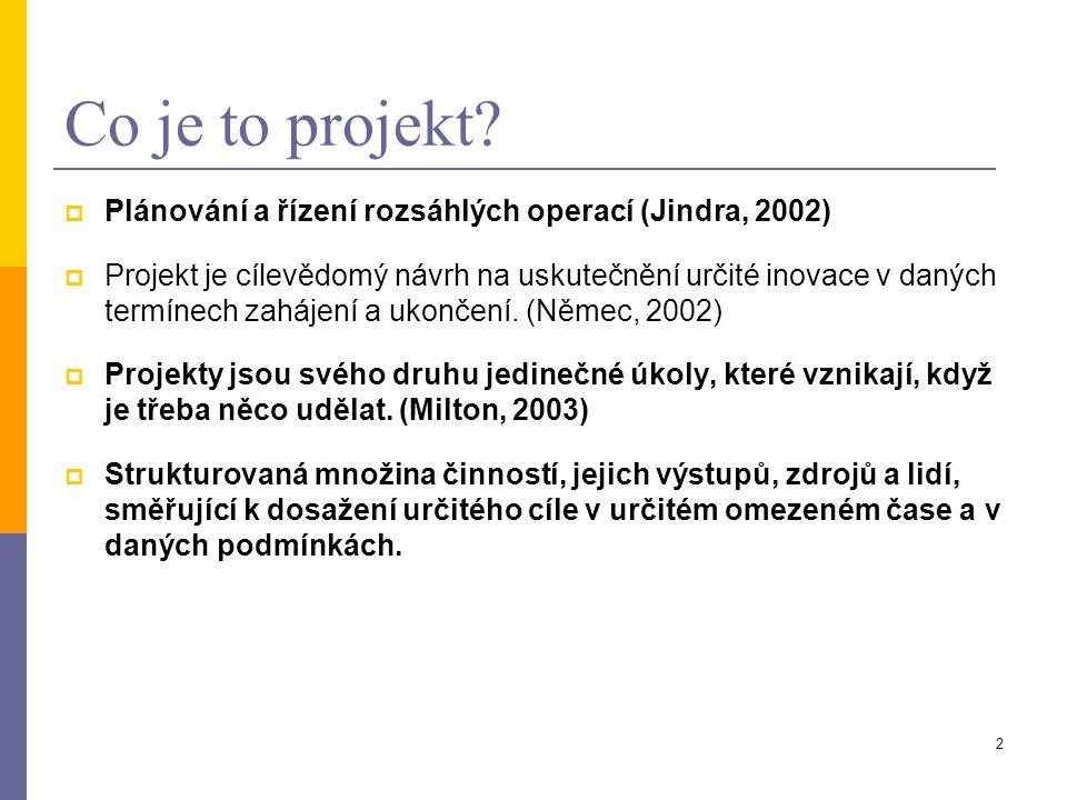 2 Co je to projekt?  Plánování a řízení rozsáhlých operací (Jindra, 2002)  Projekt je cílevědomý návrh na uskutečnění určité inovace v daných termín