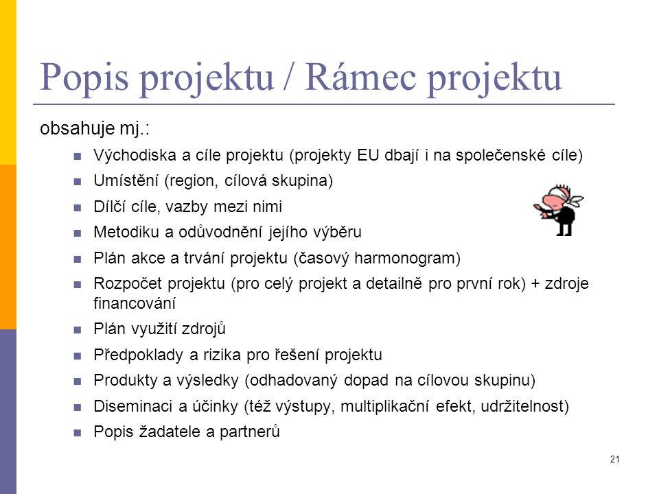 21 Popis projektu / Rámec projektu obsahuje mj.: Východiska a cíle projektu (projekty EU dbají i na společenské cíle) Umístění (region, cílová skupina