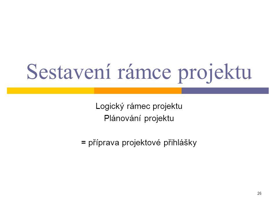 26 Sestavení rámce projektu Logický rámec projektu Plánování projektu = příprava projektové přihlášky