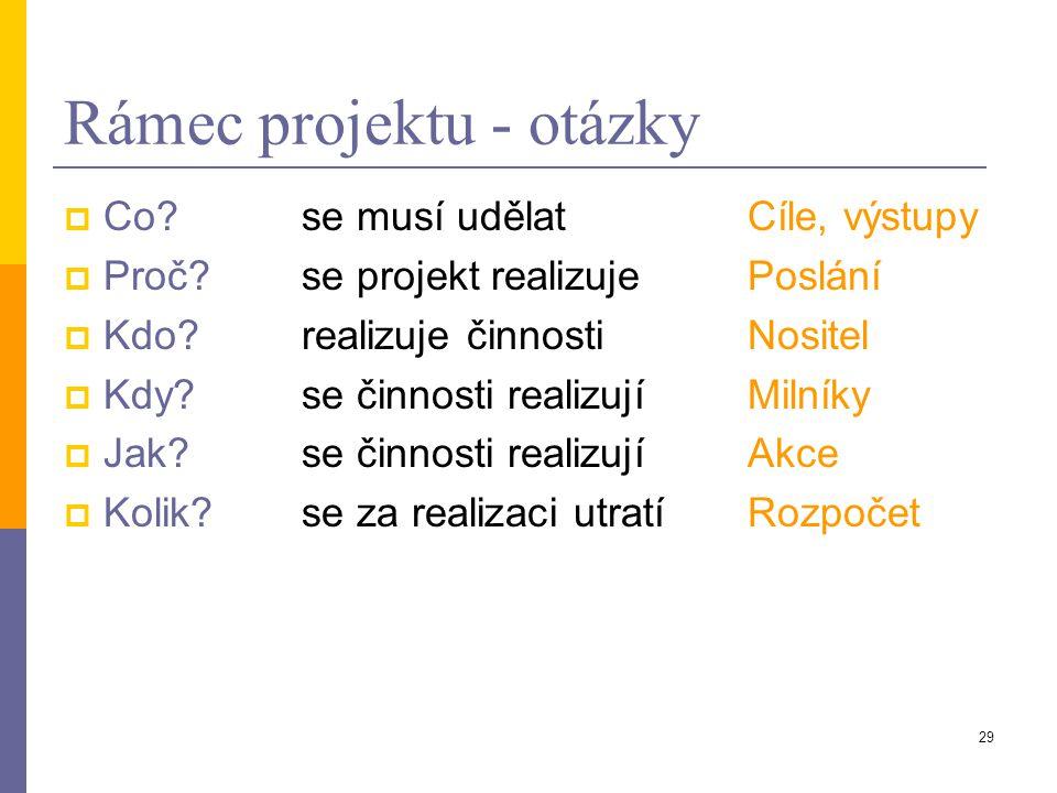 29 Rámec projektu - otázky  Co? se musí udělatCíle, výstupy  Proč?se projekt realizujePoslání  Kdo?realizuje činnostiNositel  Kdy?se činnosti real