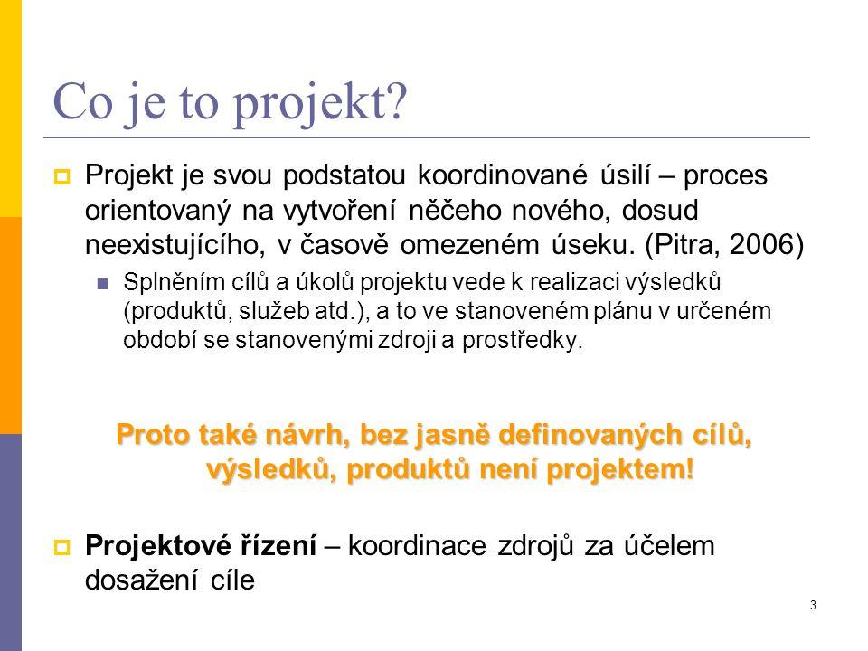 3 Co je to projekt?  Projekt je svou podstatou koordinované úsilí – proces orientovaný na vytvoření něčeho nového, dosud neexistujícího, v časově ome