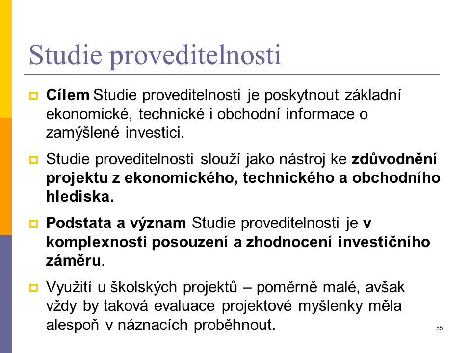 55 Studie proveditelnosti  Cílem Studie proveditelnosti je poskytnout základní ekonomické, technické i obchodní informace o zamýšlené investici.  St