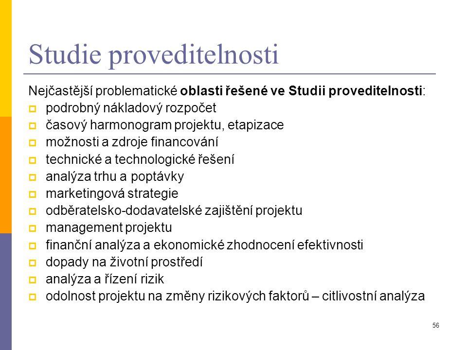 56 Studie proveditelnosti Nejčastější problematické oblasti řešené ve Studii proveditelnosti:  podrobný nákladový rozpočet  časový harmonogram proje