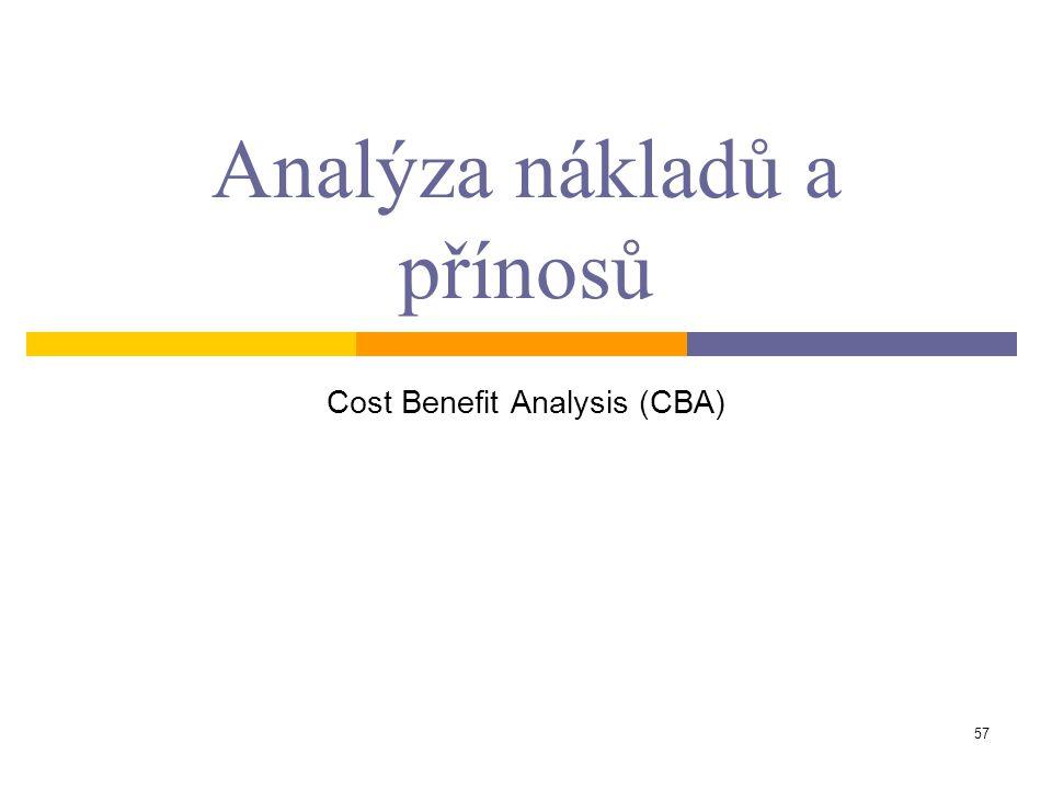 57 Analýza nákladů a přínosů Cost Benefit Analysis (CBA)