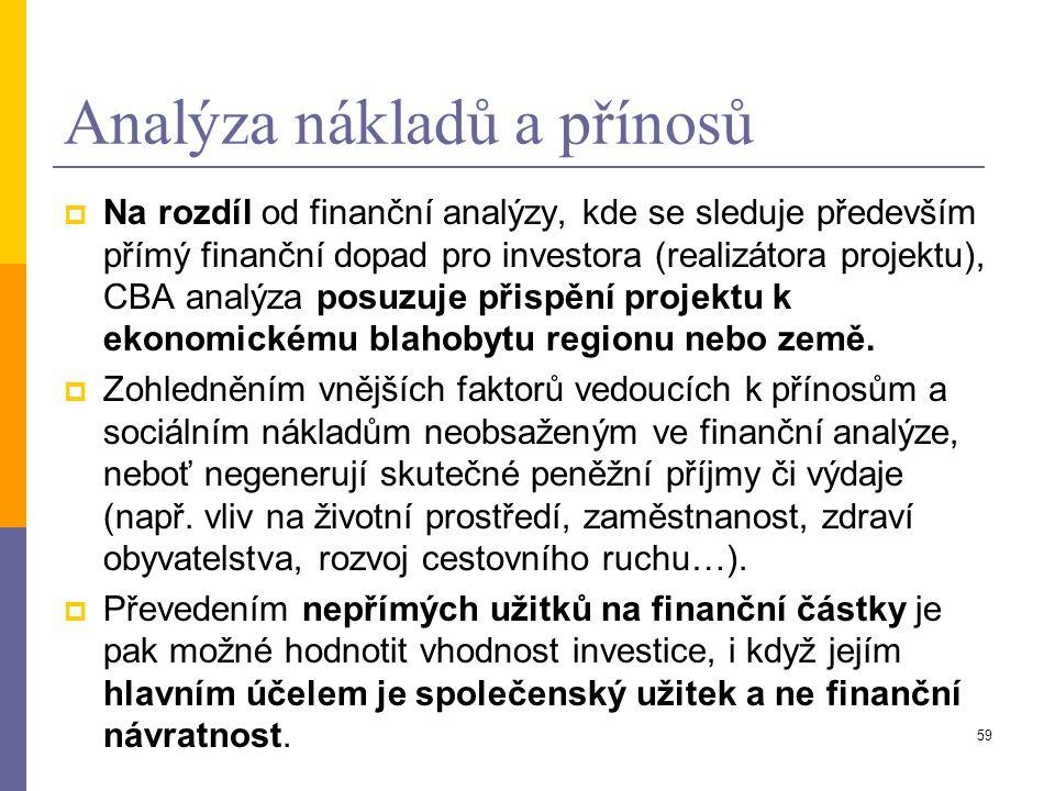 59 Analýza nákladů a přínosů  Na rozdíl od finanční analýzy, kde se sleduje především přímý finanční dopad pro investora (realizátora projektu), CBA