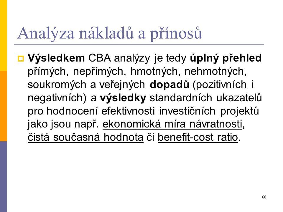 60 Analýza nákladů a přínosů  Výsledkem CBA analýzy je tedy úplný přehled přímých, nepřímých, hmotných, nehmotných, soukromých a veřejných dopadů (po