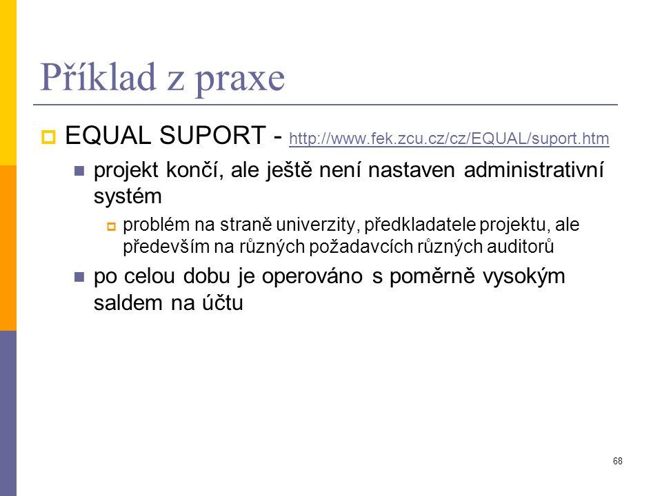 68 Příklad z praxe  EQUAL SUPORT - http://www.fek.zcu.cz/cz/EQUAL/suport.htm http://www.fek.zcu.cz/cz/EQUAL/suport.htm projekt končí, ale ještě není